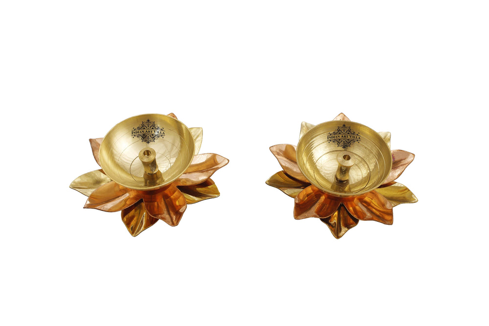 Copper & Brass Plated Diya Set of Aarti Lamp IAV-SP-3-188-