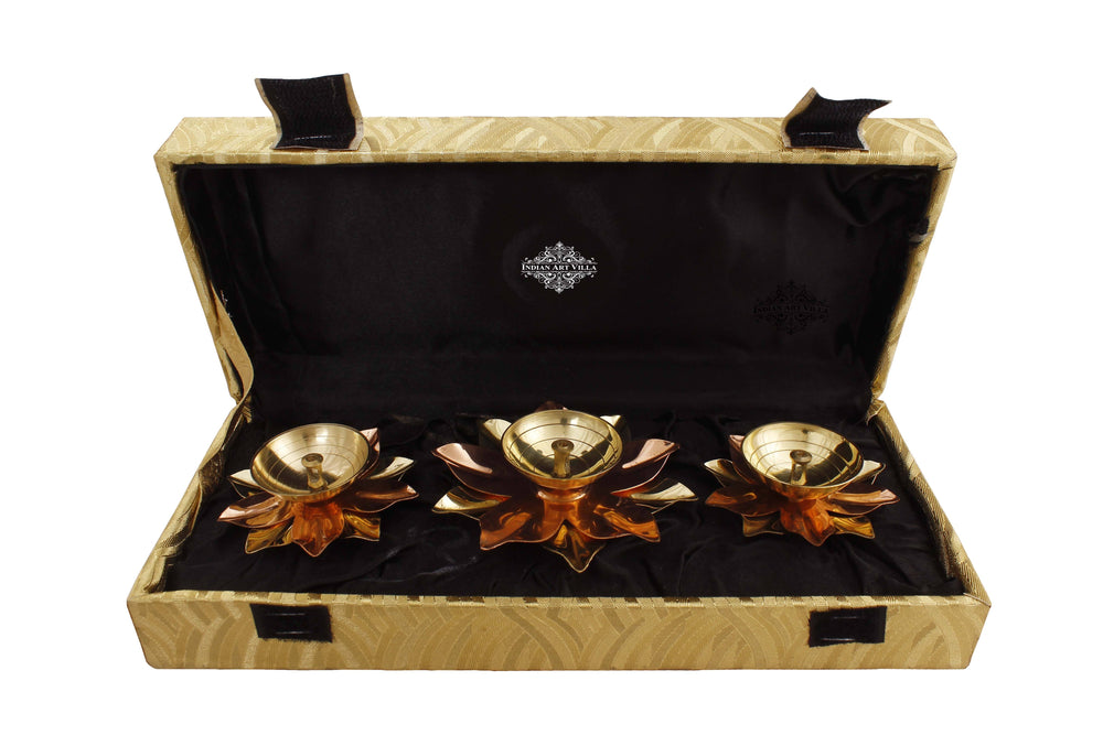 Copper & Brass Plated Diya Set of Aarti Lamp IAV-SP-3-188- 3 Pieces