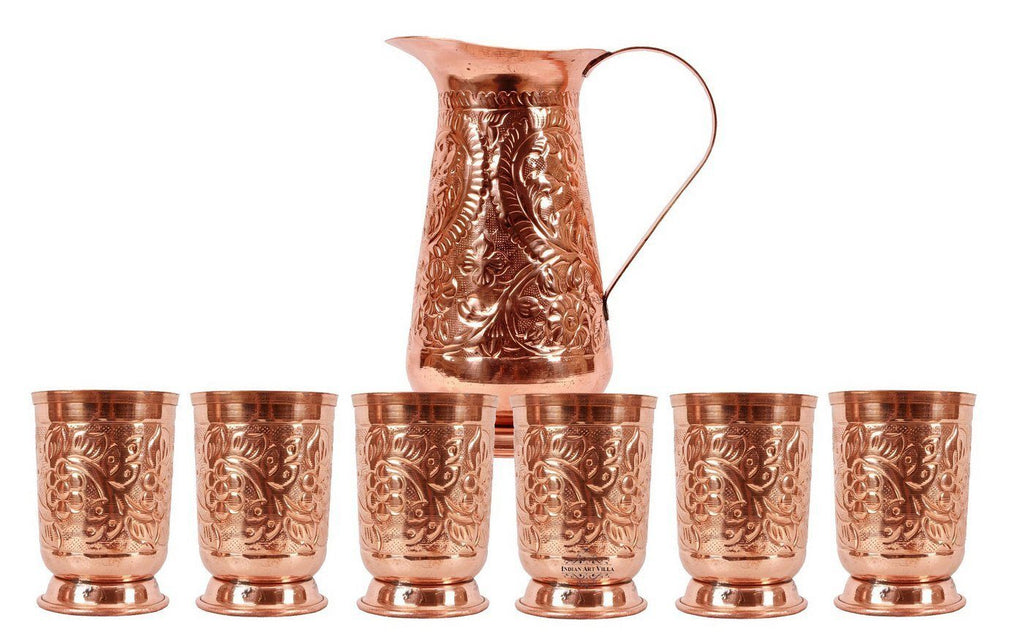 Copper Designer 1 Jug Pitcher |1300 ML| with 6 Glass Tumbler | 350 ML