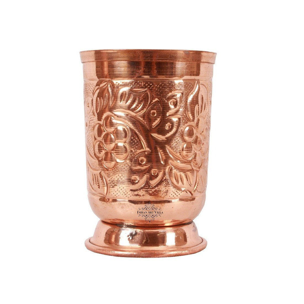 Copper Designer 1 Jug Pitcher |1300 ML| with 6 Glass Tumbler | 350 ML Copper Ware Drink Ware Combo Indian Art Villa