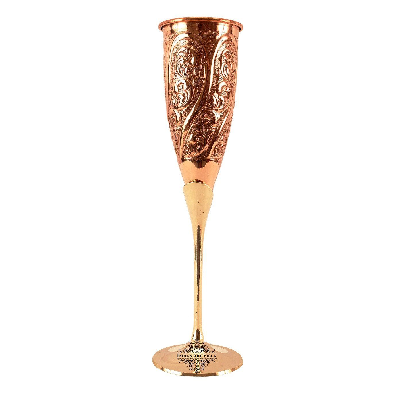 Copper Designer Champagne Wine Flute Glass 6 Oz