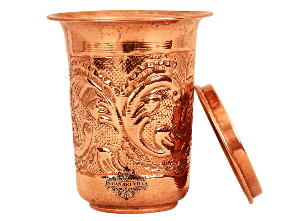 Copper Designer Glass with Lid 11 Oz