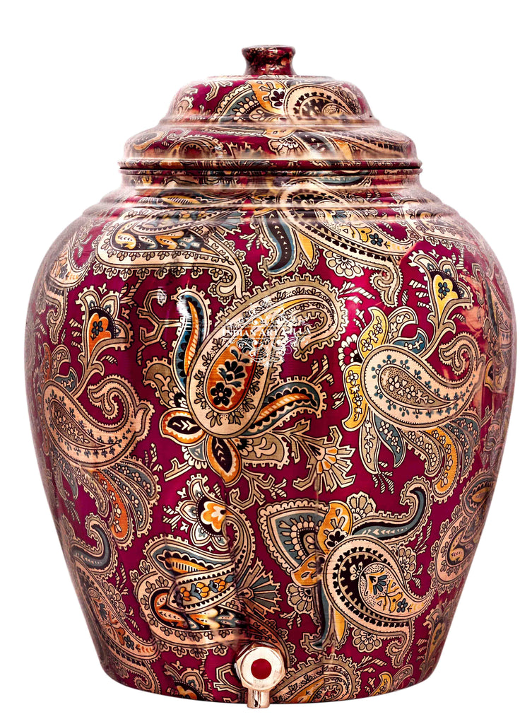 Copper Designer Maroon Water Pot