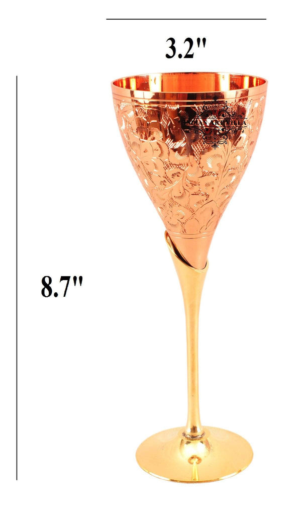 Copper Designer Wine Glass with Brass Stand 6 Oz