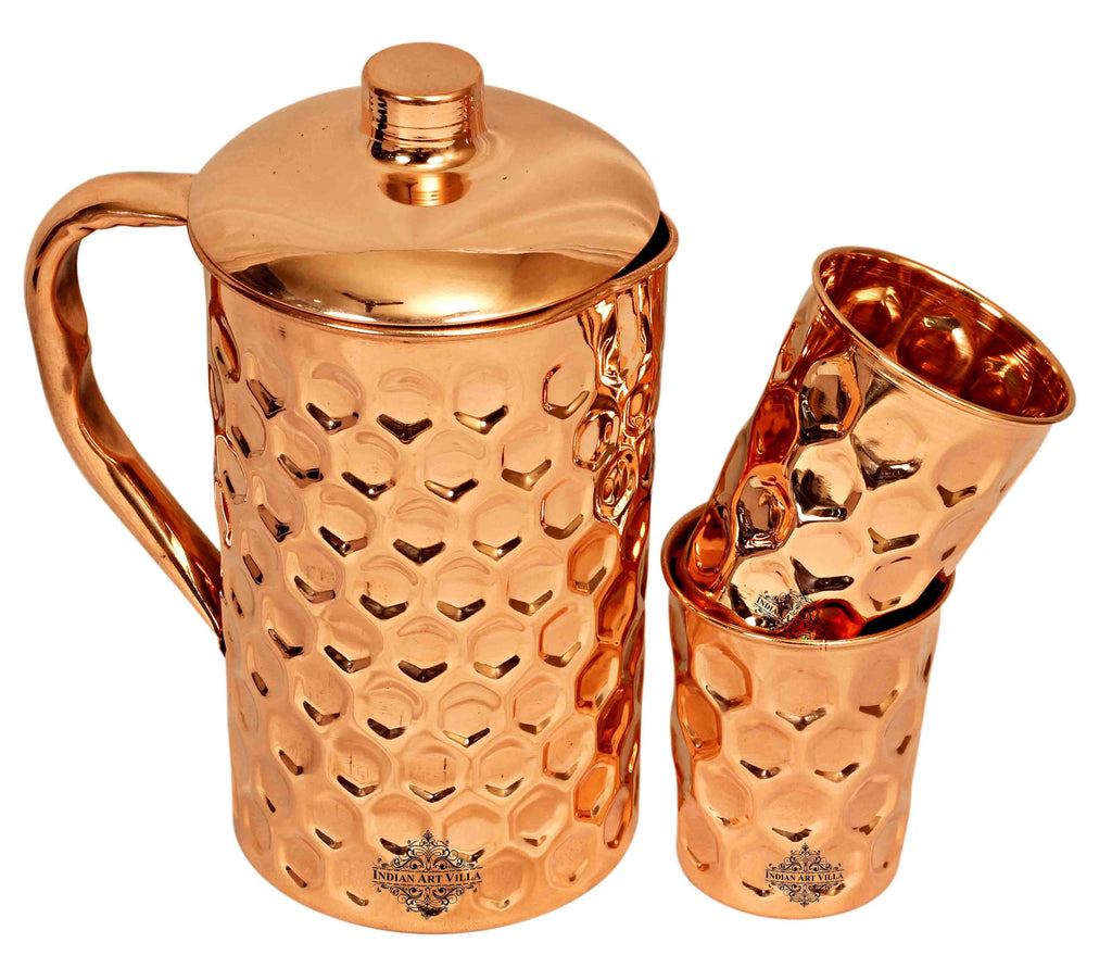 Copper Diamond Hammered Jug No.4 with 2 Diamond Glass ( 3 Pieces ) Copper Ware Drink Ware Combo CCB-DW