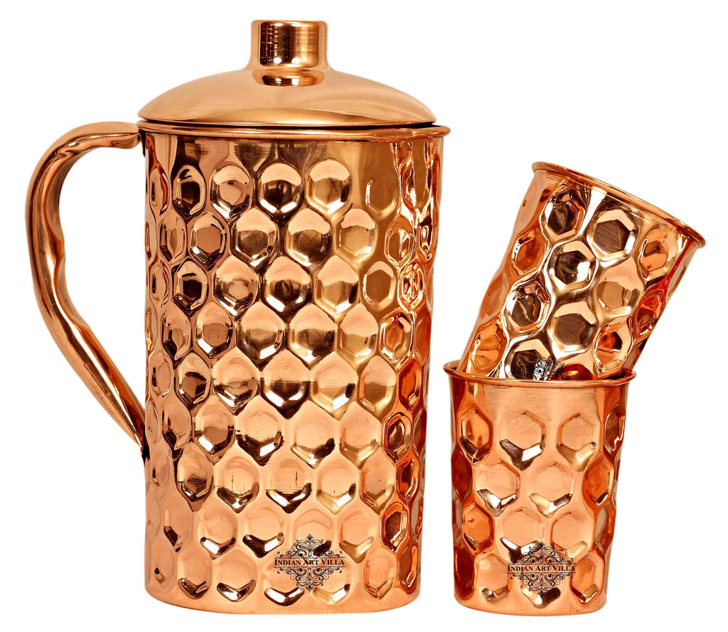 Copper Diamond Hammered Jug No.4 with 2 Diamond Glass ( 3 Pieces )