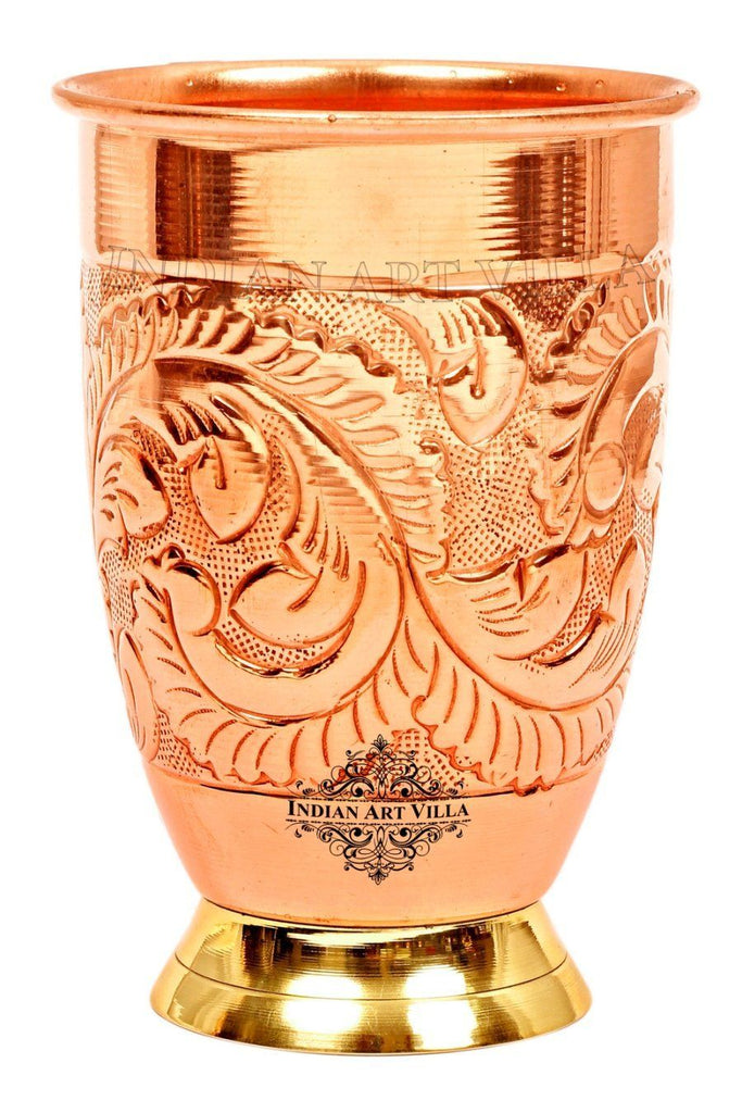 Copper Embossed Design Glass With Brass Bottom