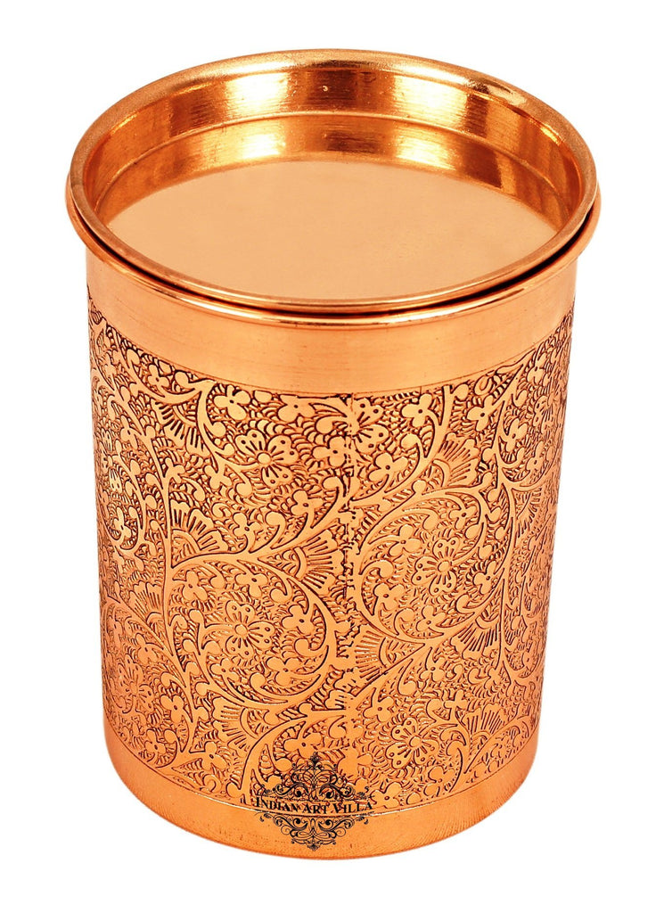 Copper Embossed Design Glass with Lid 10 Oz
