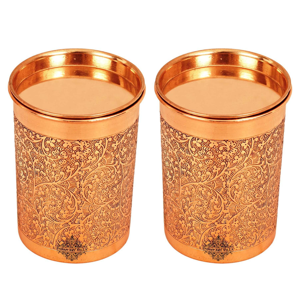 Copper Embossed Design Glass with Lid 10 Oz Copper Tumblers IAV-CCB-DW-1123 2 Pieces