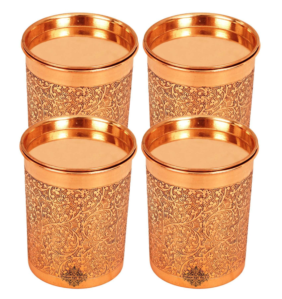Copper Embossed Design Glass with Lid 10 Oz Copper Tumblers IAV-CCB-DW-1123 4 Pieces