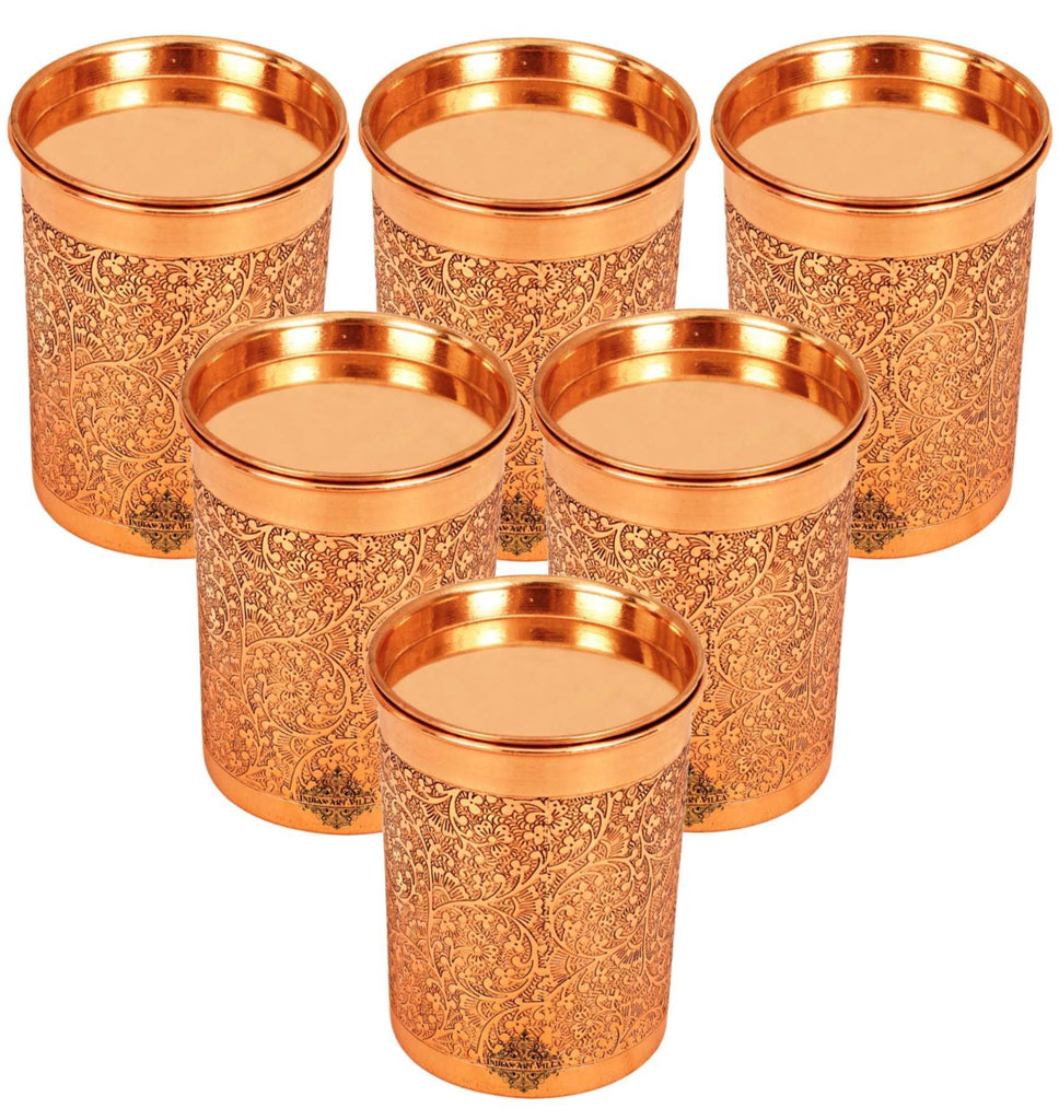 Copper Embossed Design Glass with Lid 10 Oz Copper Tumblers IAV-CCB-DW-1123 6 Pieces