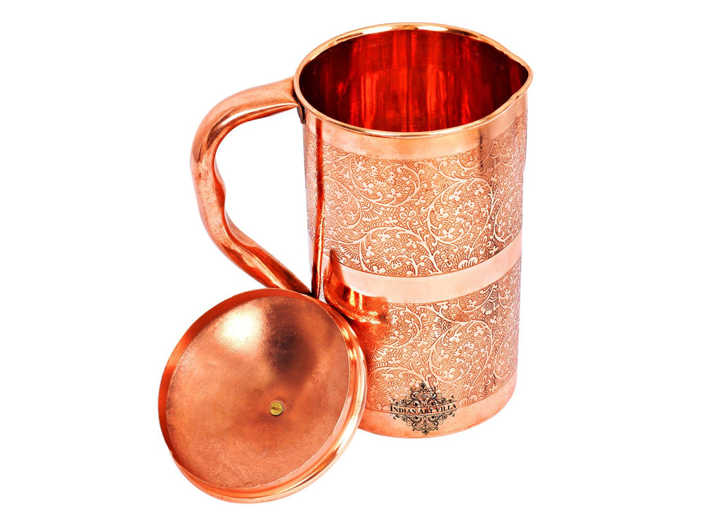Copper Embossed Design Jug with Brass lid Jugs CC-5