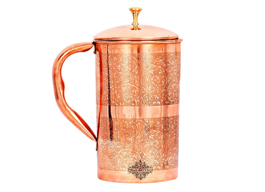 Copper Embossed Design Jug with Brass lid