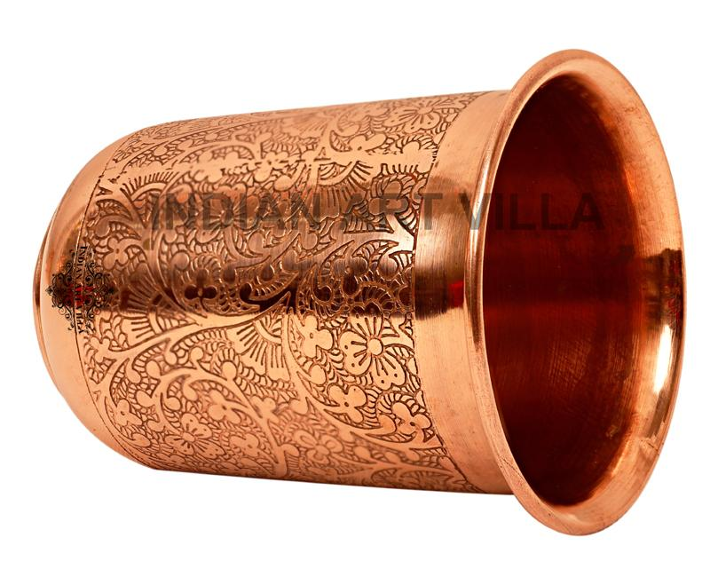 Copper Embossed Design Small Glass 210 ML Copper Tumblers CC-3