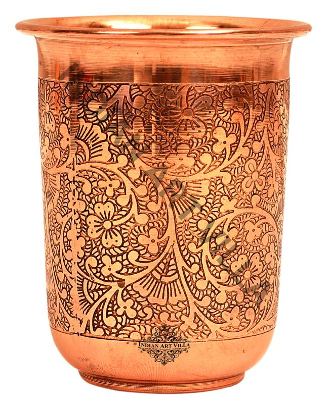 Copper Embossed Design Small Glass 210 ML