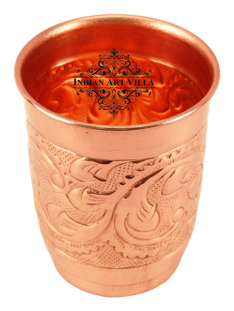 Copper Engraved Leaf Design Glass Tumbler Cup 400 ML
