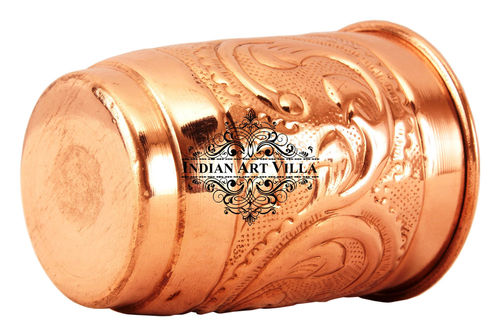 Copper Engraved Leaf Design Glass Tumbler Cup 400 ML Copper Tumblers CC-10