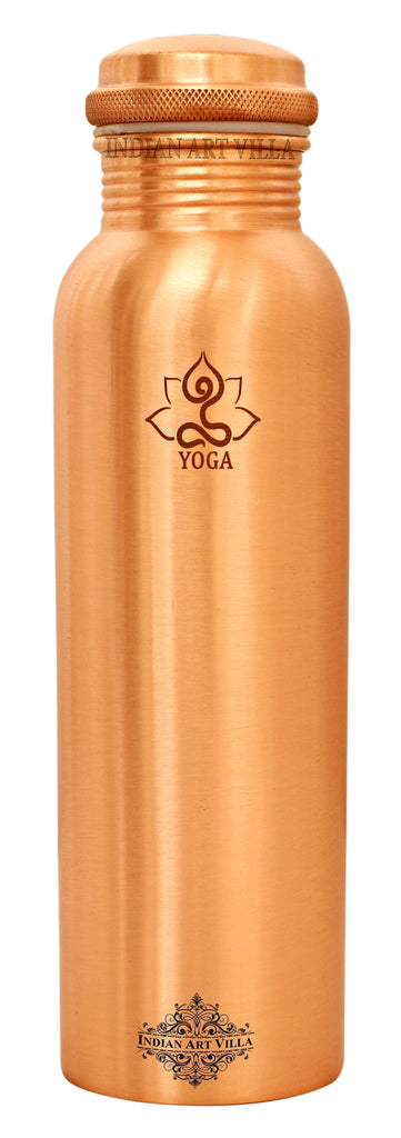 Copper Engraved Yoga Design Bottle, 1000 ML