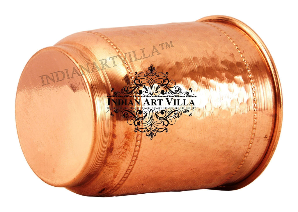 Copper Flat Hammerd Glass Tumbler Cup with 2 Designer Rings Copper Tumblers Indian Art Villa