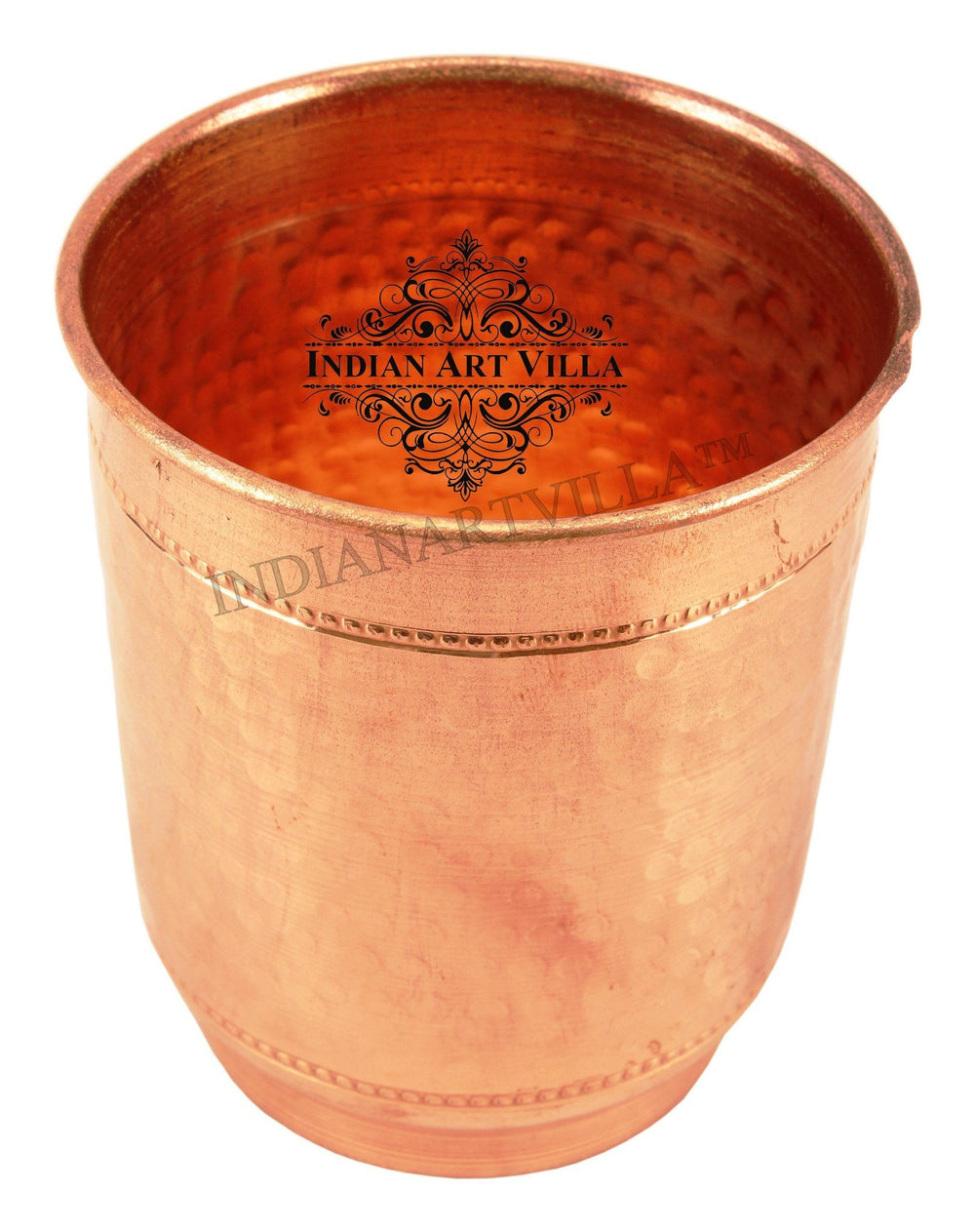 Copper Flat Hammerd Glass Tumbler Cup with 2 Designer Rings