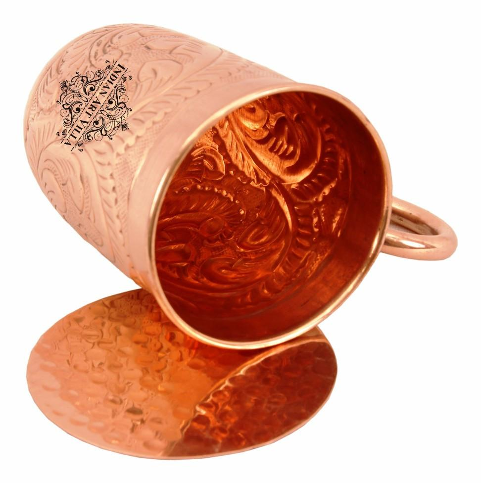 Copper Flower Design Long Beer Mug Cup 15 Oz with Coaster Coaster Beer Mugs Indian Art Villa