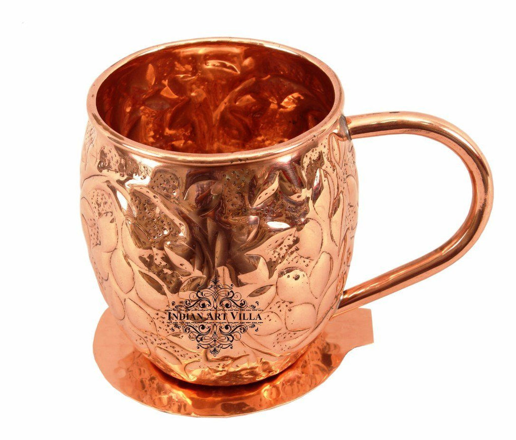 Copper Flower Design Round Beer Mug Cup 15 Oz with Coaster