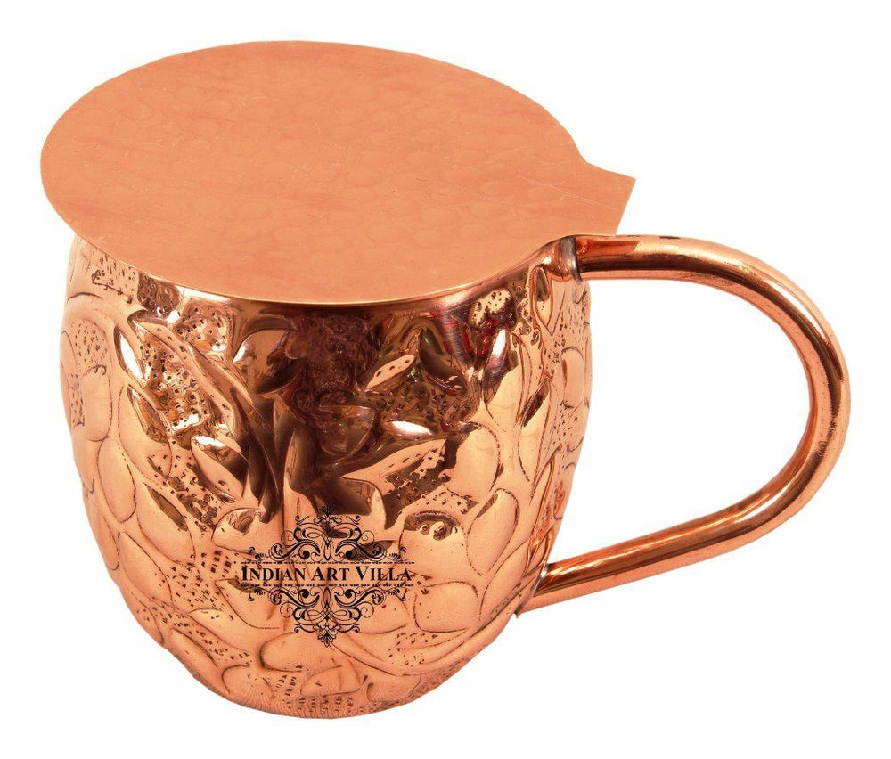 Copper Flower Design Round Beer Mug Cup 15 Oz with Coaster Coaster Beer Mugs Indian Art Villa
