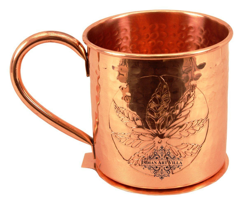 Copper Flower Design Small Hammered Mug Cup 16 Oz with Coaster