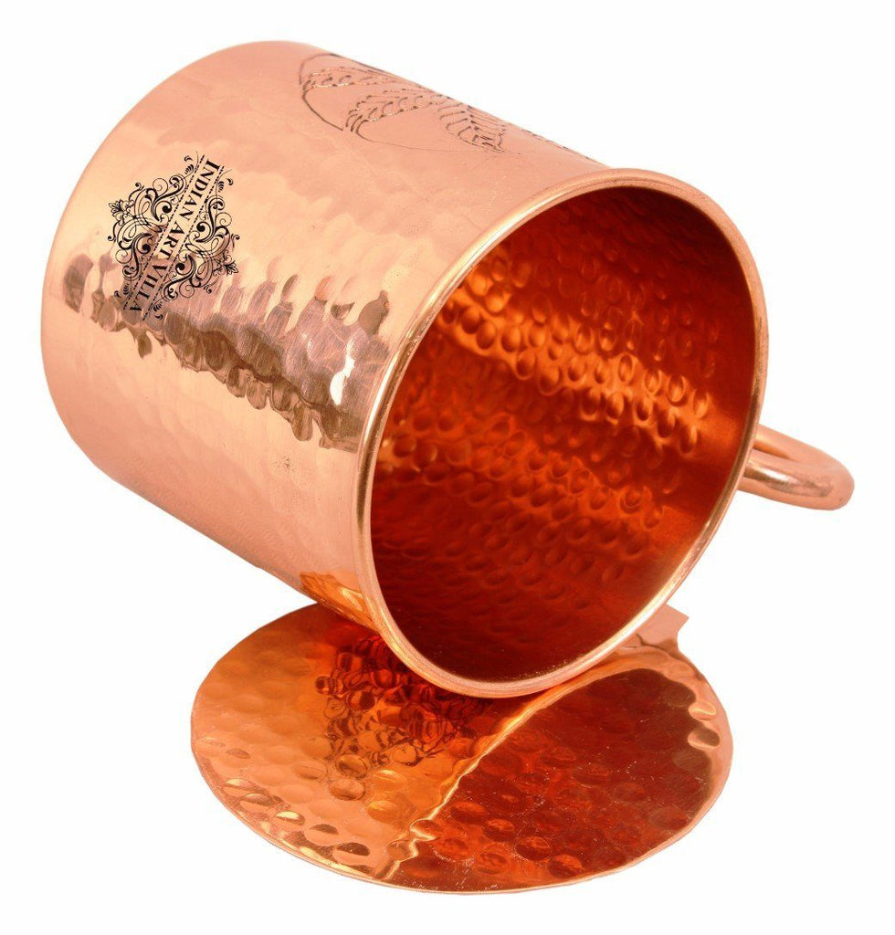 Copper Flower Design Small Hammered Mug Cup 16 Oz with Coaster Coaster Beer Mugs Indian Art Villa