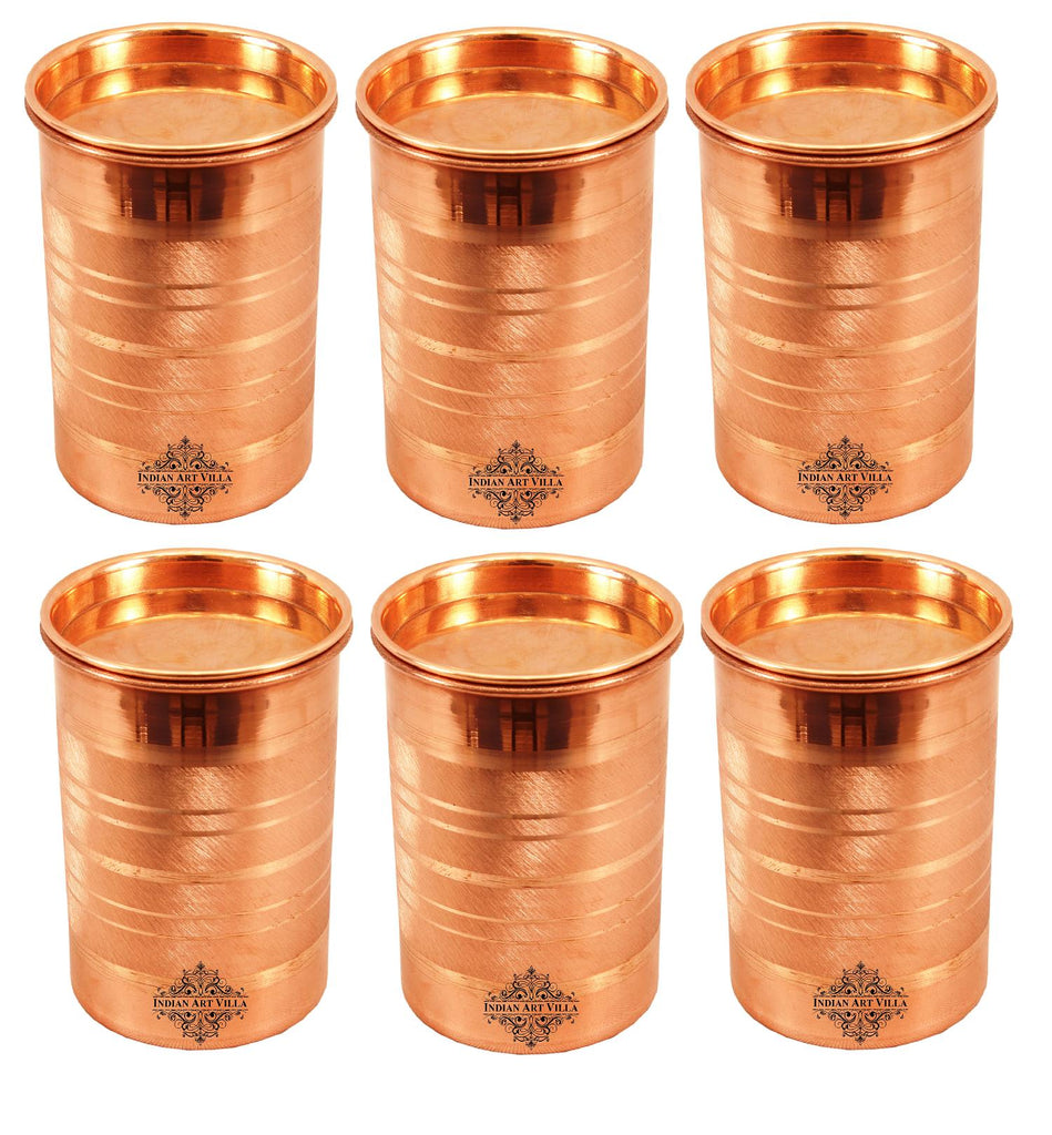 Copper Glass Tumbler Cup with Lid | 300 ML Copper Ware Drink Ware Combo Indian Art Villa 6 Pieces