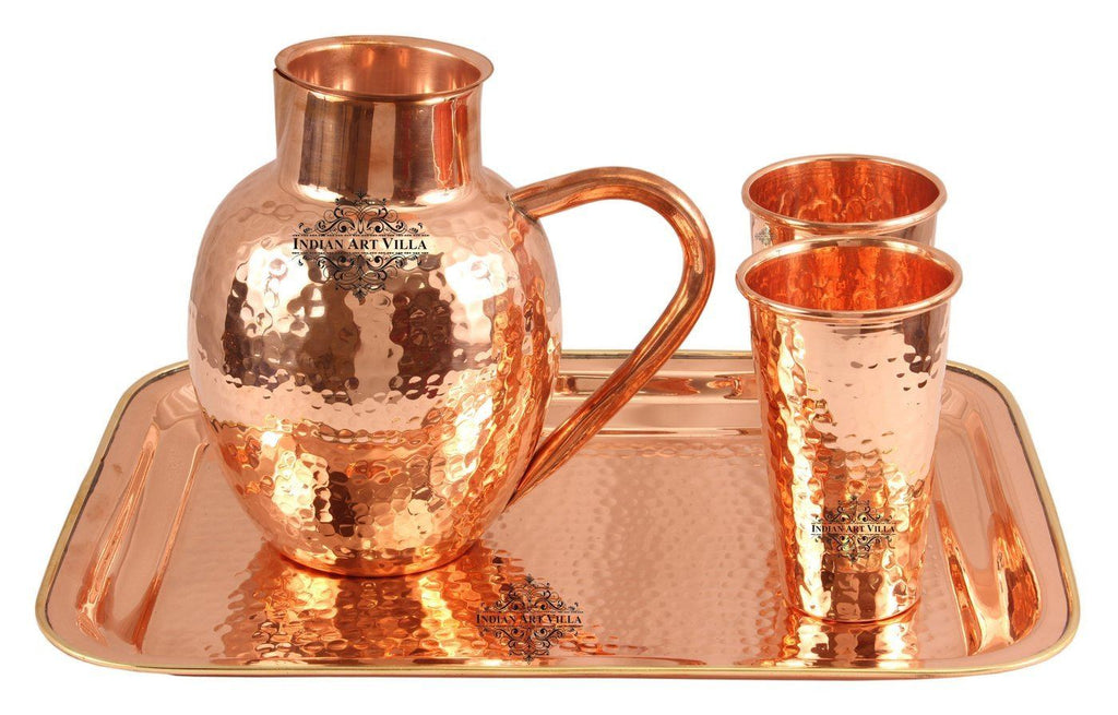 Copper Hammered 1 Surai Jug Pitcher |1600 ML| with 2 Glass Tumbler | 400 ML each & 1 Tray Platter Copper Ware Drink Ware Combo Indian Art Villa