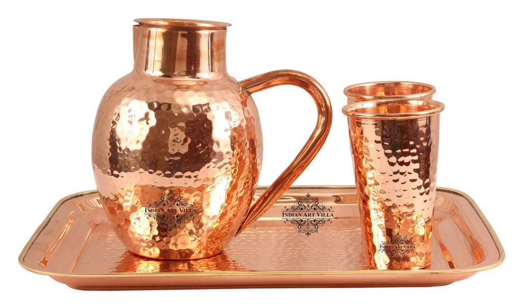 Copper Hammered 1 Surai Jug Pitcher |1600 ML| with 2 Glass Tumbler | 400 ML each & 1 Tray Platter