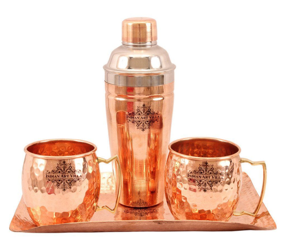 Copper Hammered 2 Mug Cups with Steel Copper Wine Shaker & 1 Hammered Tray Platter Steel Copper Ware Bar Ware Combo Indian Art Villa