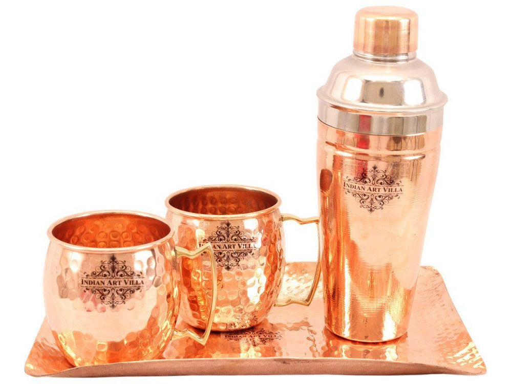 Copper Hammered 2 Mug Cups with Steel Copper Wine Shaker & 1 Hammered Tray Platter