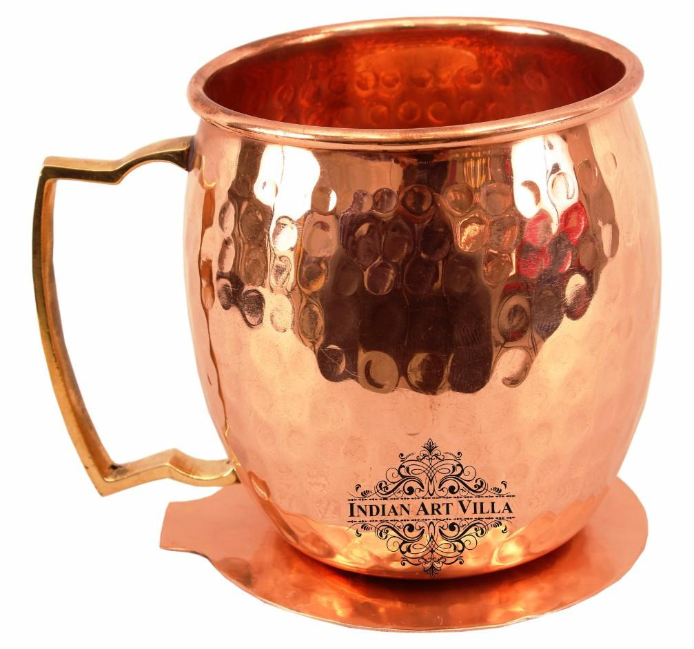 Copper Hammered Beer Mug Cup with Brass Handle 17 Oz