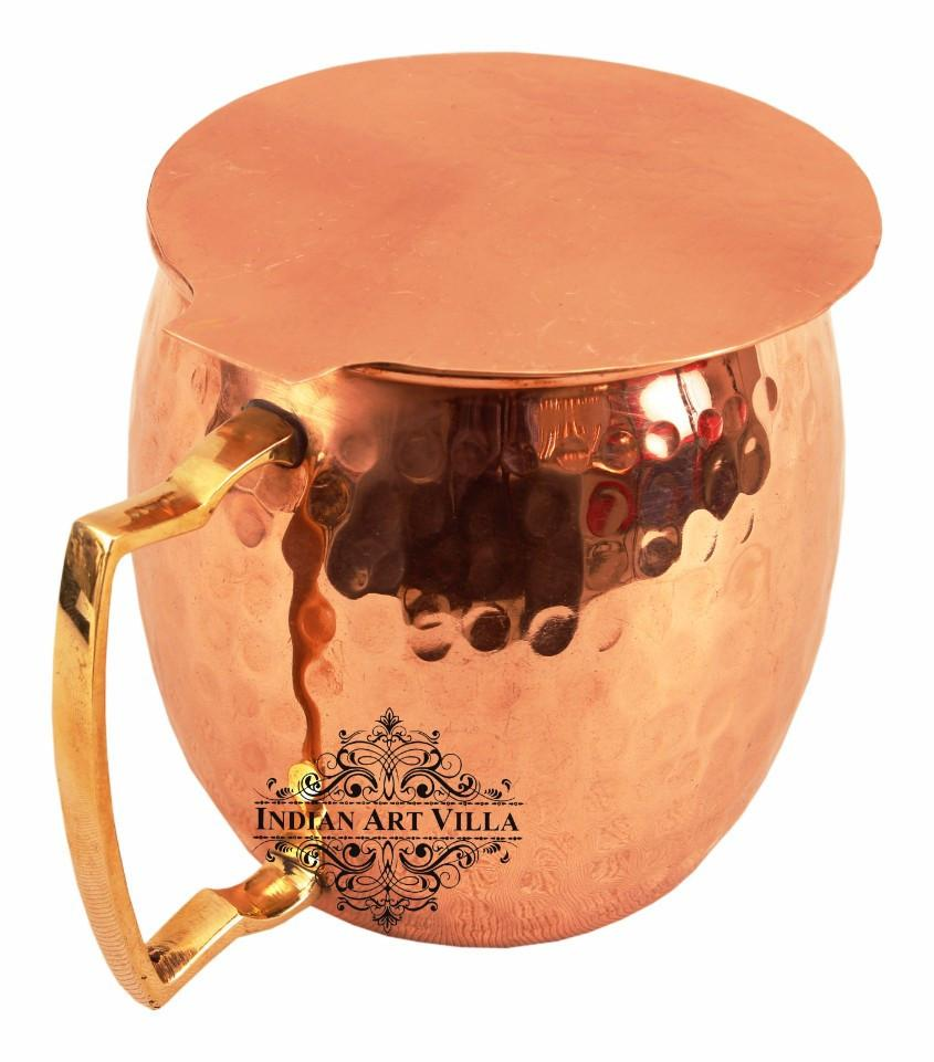 Copper Hammered Beer Mug Cup with Brass Handle 17 Oz Coaster Beer Mugs Indian Art Villa