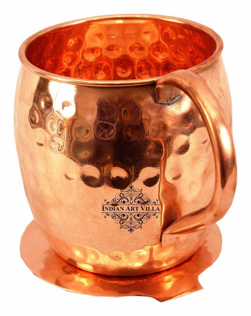 Copper Hammered Beer Mug Cup with Coaster - 17 Oz Coaster Beer Mugs Indian Art Villa