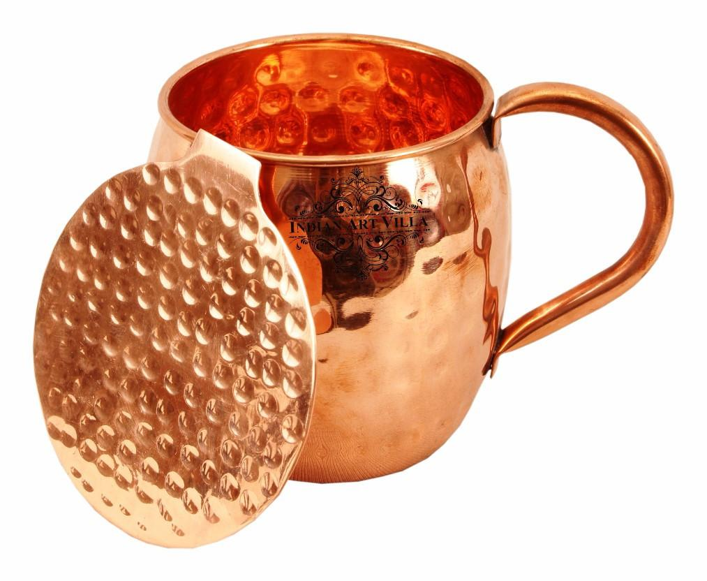 Copper Hammered Beer Mug Cup with Coaster - 17 Oz