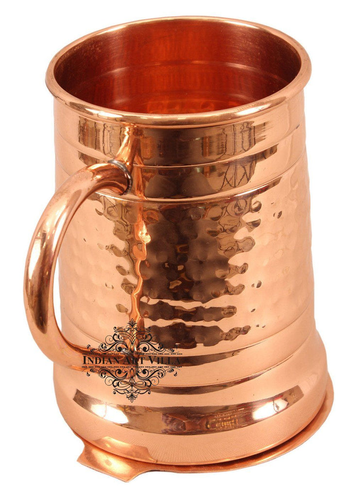 Copper Hammered Big Mug Cup with Coaster | 600 ML Copper Ware Bar Ware Combo Indian Art Villa