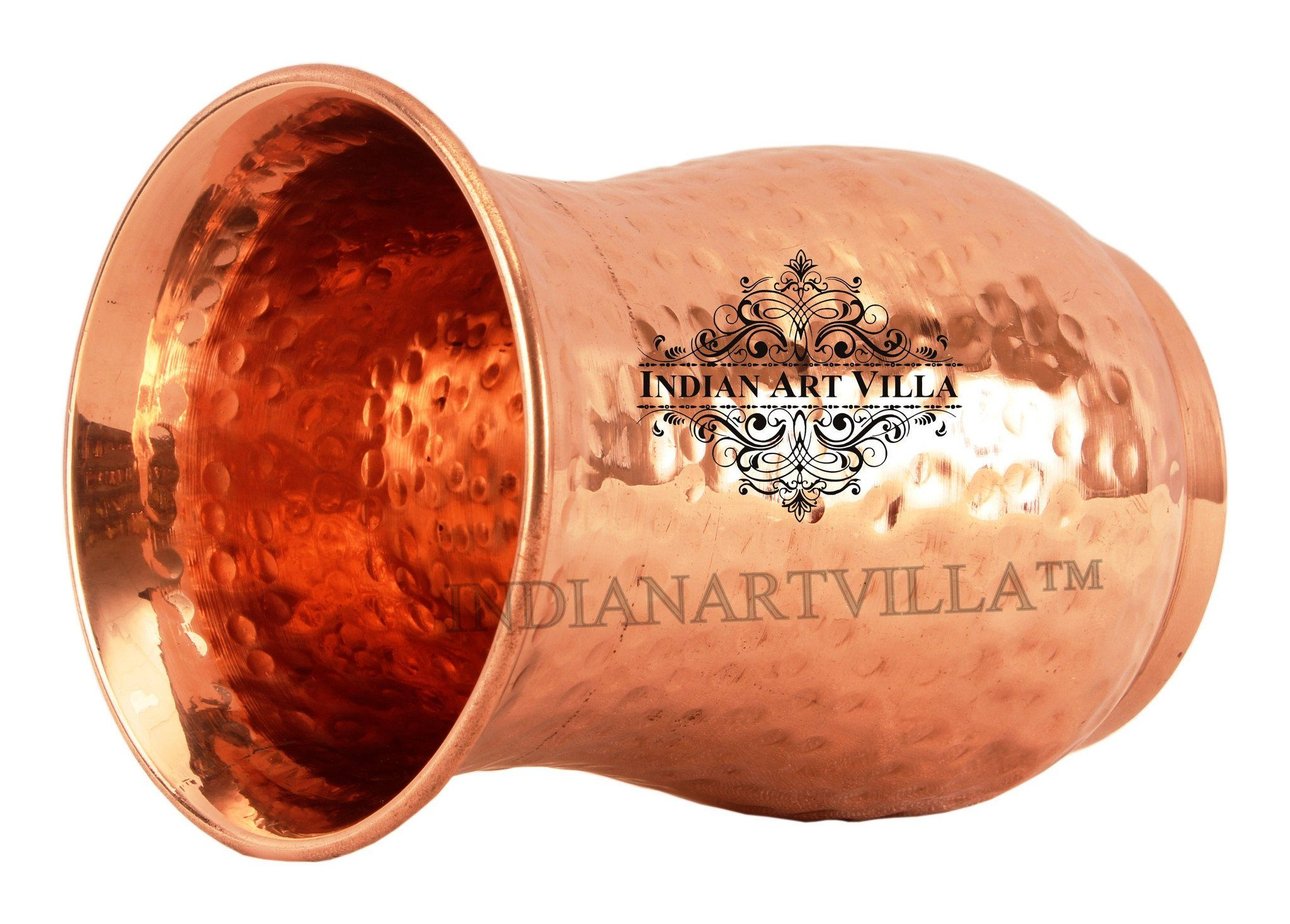 Copper Hammered Curved Glass Tumbler Cup 13 Oz