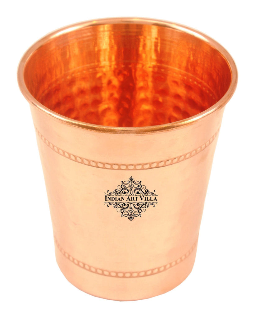 Copper Hammered Curved Glass with 2 Rings - 8 Oz Copper Tumblers Indian Art Villa