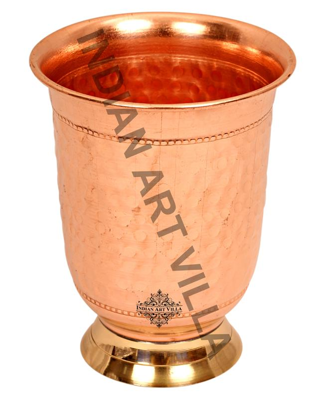 Copper Hammered Design Curved Glass with Brass Bottom 400 ML Copper Tumblers CC-3