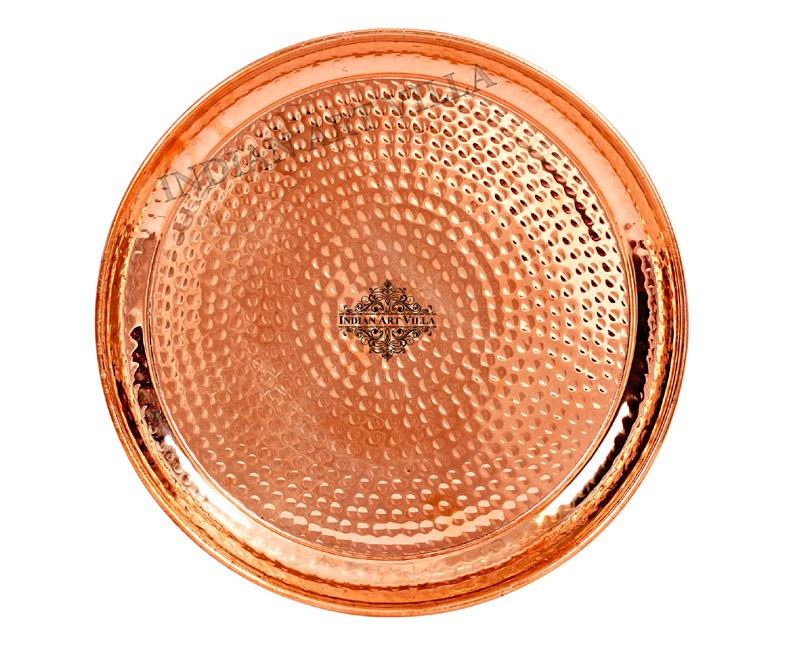 Copper Hammered Design Dinner Plate Thali, Serveware Tableware Plates CC-5
