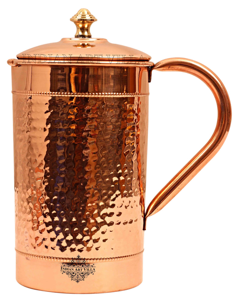 Copper Hammered Design Jug with Brass knob 1600 ML