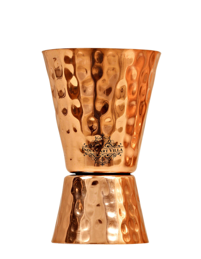 Copper Hammered Designer Shot Jigger Glass Cup