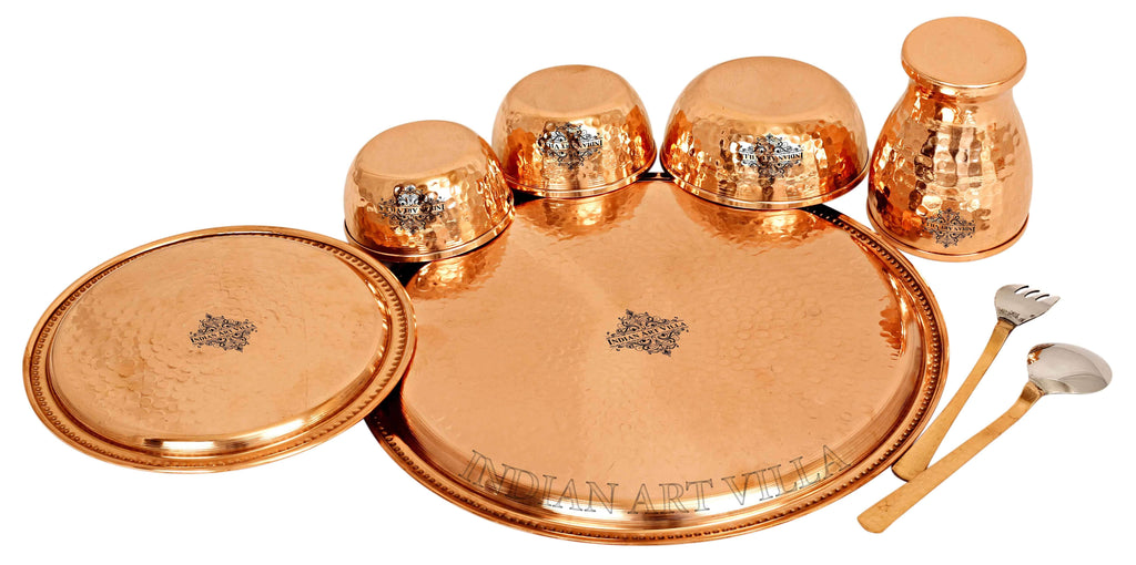 Copper Hammered Dinner Set (8 Pieces), 12'' Inch Dinner Sets CCB-TW
