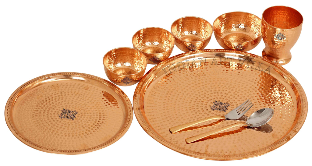 Copper Hammered Dinner Set (9 Pieces), 14'' Inch Dinner Sets CCB-TW