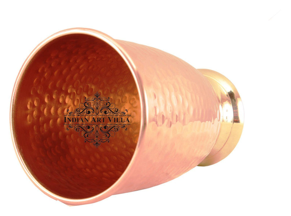 Copper Hammered Glass Tumbler with Brass Bottom 410 ML Copper Tumblers Indian Art Villa