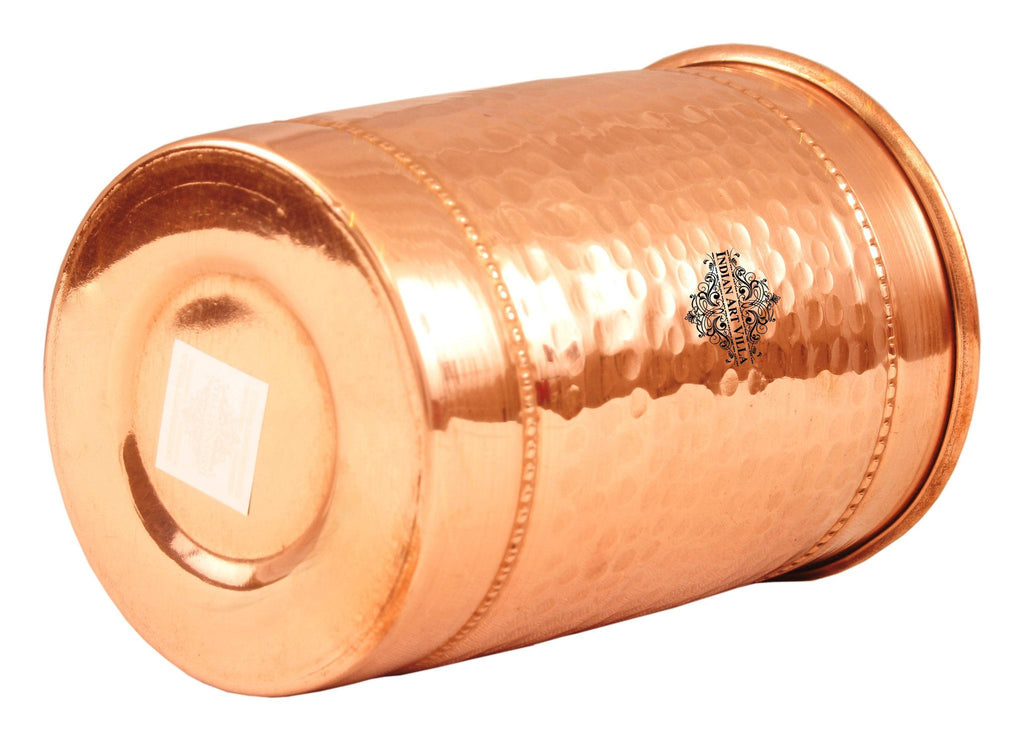 Copper Hammered Glass with 2 Rings - 10 Oz Copper Tumblers Indian Art Villa