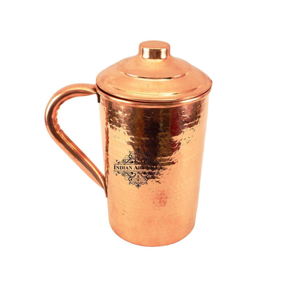 Copper Hammered Jug Pitcher 62 Oz Copper Jugs Indian Art Villa